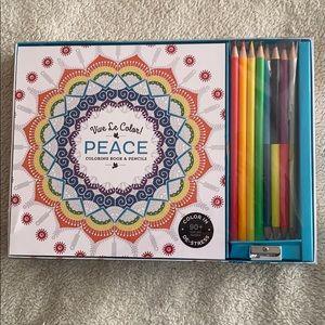 "Vive Le Color Coloring Kit. ""Peace"" themed pages"
